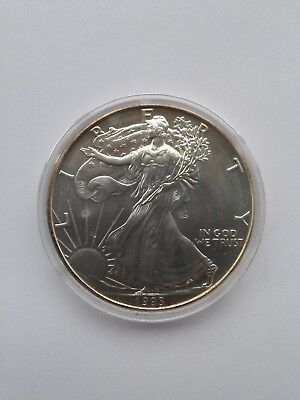 1993 1 oz Silver American Eagle BU with Toning in Airtite Capsule