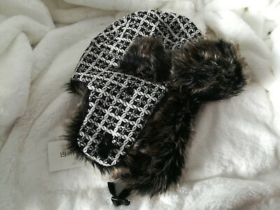 415c7025818ec Canadian Headwear Plaid Bomber Trapper Hat Black and White One Size Fits  All New