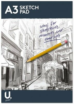 A4 & A3 Sketch Pad Bright White Paper Artist Flip Up Sketch Doodling Pad 70gsm