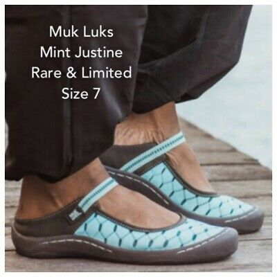NWT MUK LUKS Women's Justine Strap Mint Clogs Shoes Sneakers Slip On MULES 7 M