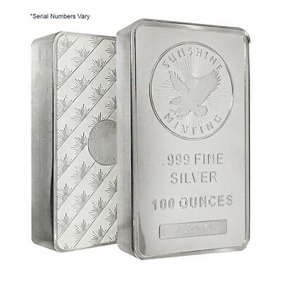 100 oz Sunshine Mint Silver Bar .999 Fine (Pressed,w/Box)