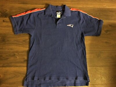 Vintage Puma NFL Football New ENGLAND PATRIOTS Blue Polo Shirt Size L Large