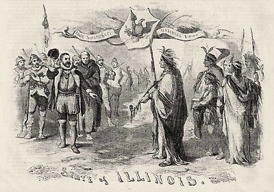 Illinois HIstorical Coat of Arms Seal French Canadians Indians Peace Pipe 1856