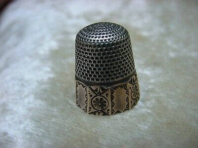 Antique Sterling Thimble Stern Bros. with 14k Gold sz. 8 Victorian