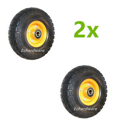 "2x10""Solid tyre wheels Trolley wheel punchture proof 3.50-4 Heavy Duty 20mm bore"