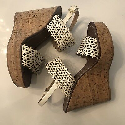 7881cc7897dc34 Tory Burch White Flower Cutout Cork Wedges