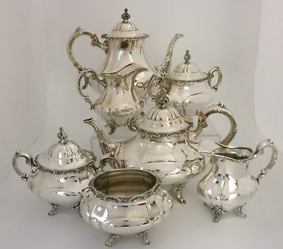 Reed & Barton Georgian Rose Sterling Silver Coffee Tea Set 7 Pieces