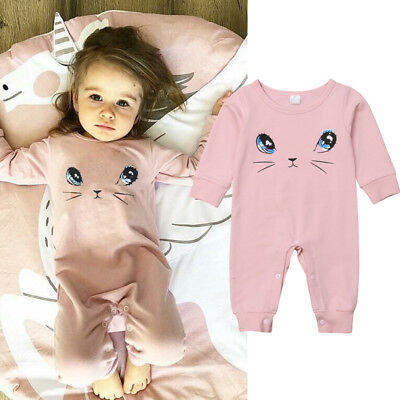 Newborn Infant Baby Girl Kids Romper Jumpsuit Cotton Sleepwear Clothes Outfits
