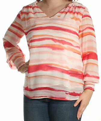 86961462109 CALVIN KLEIN  79 Womens New 1411 Pink Orange Striped Long Sleeve Top XL B+B