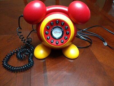 Collectible Rare Disney Mickey Mouse ears feet Red Push Button Telephone