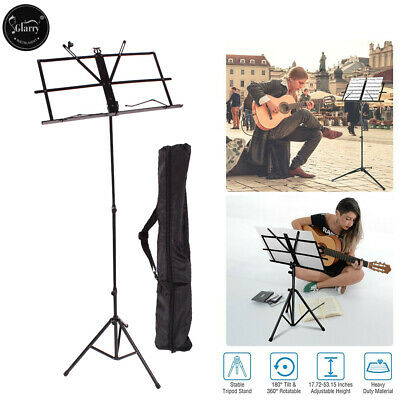 Glarry High Quality Adjustable Folded Music Sheet Stand Black + Carrying Bag