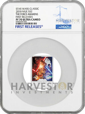 2019 Star Wars The Force Awakens Poster Coin - Ngc Pf70 First Releases - W/ogp