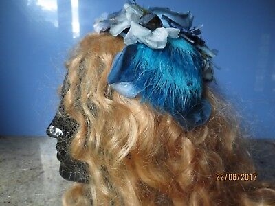 Vintage 50s/60s blue hat headband cocktail topper flowers feathers