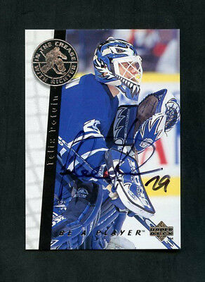 1996 Felix Potvin Upper Deck Be A Player In The Crease On-Card Auto #S195