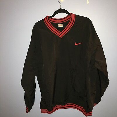 e59f744bb08d Vintage 90 s NIKE Windbreaker Pullover Jacket Black Red Nylon V Neck Size XL