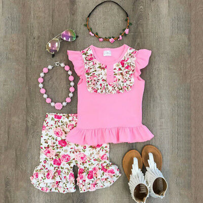 9e71929aad5b Floral Toddler Kid Baby Girl Outfit Clothes T-shirt Top+Ruffle Pants  Legging Set