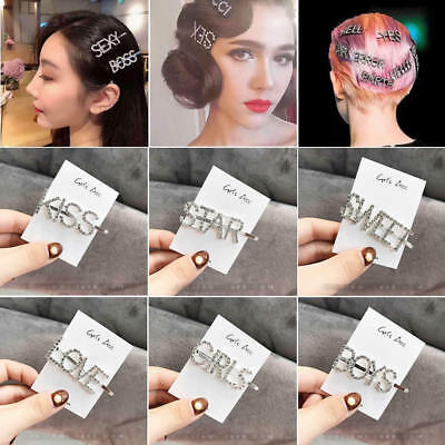 Women Girls Rhinestone Hair Clip Crystal Letters Hairpin Barrette Slide Grips