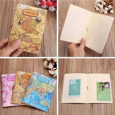 Leather World Map Passport Holder Organizer Travel Card Case Document Cover