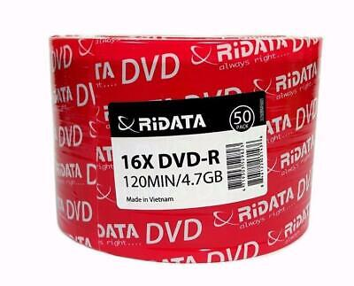 100 RITEK RIDATA Blank16X  DVD-R DVDR Branded Logo 4.7GB Media Disc