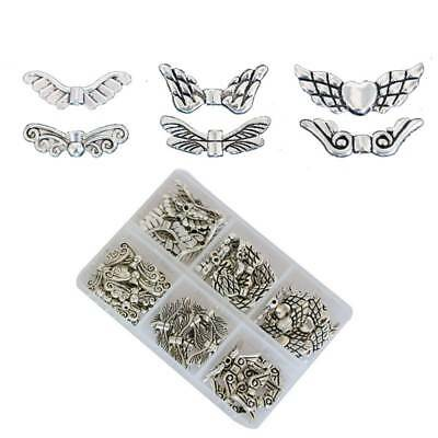 Vintage Tibetan Silver Alloy Angel Wings DIY Jewelry Making Charm Beads Spacer I