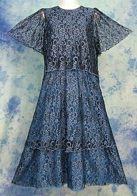 Vintage 80s Holiday Glam Blue Lace Tiered Layered Draped