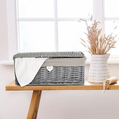 Grey Painted Lid Wicker Storage Collection Christmas Gift Hamper Wicker Basket