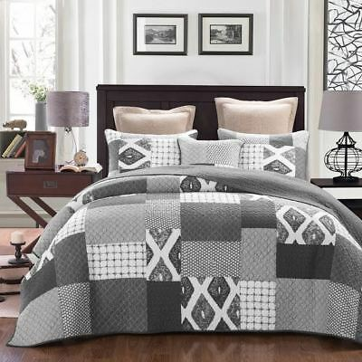 French Country Vintage Inspired Patchwork Bed Quilt Stonewash Throw New