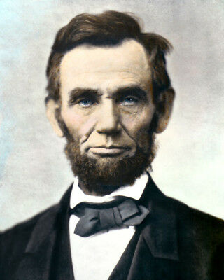 """PRESIDENT ABRAHAM LINCOLN CIVIL WAR 1863 8x10"""" HAND COLOR TINTED PHOTOGRAPH"""