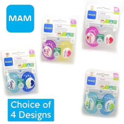 MAM Style - Made With Love Soother Twin Pack 6m+ CHOICE OF DESIGN BOY/GIRL(A43)
