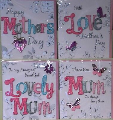 LARGER MOTHER'S DAY HANDMADE CARDS x24, JUST 59p, srp £3.99, 4 styles X 6 ( FY