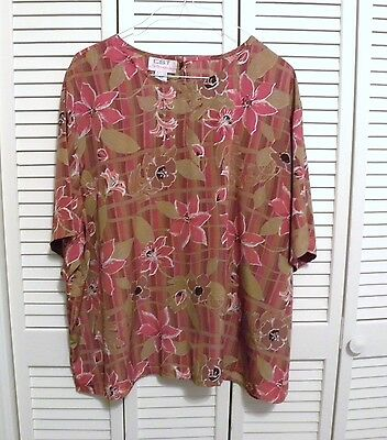 CST STUDIOS SS Pull On Blouse Plus Sz 32W  Red Orange Salmon Brown Floral Poly