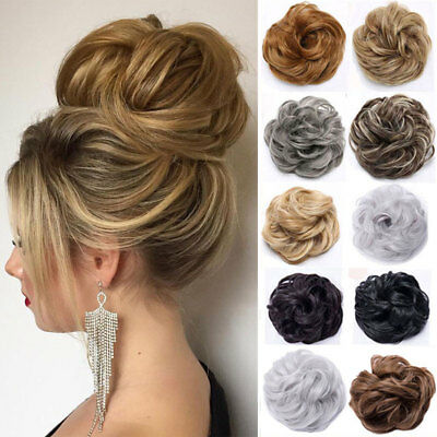 Real Natural Curly Messy Bun Hair Piece Scrunchie Thick Fake Hair Extension URWF