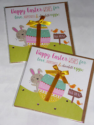 EASTER HANDMADE CARDS X 12, 'BUNNY HOP'  JUST 43p, (3)