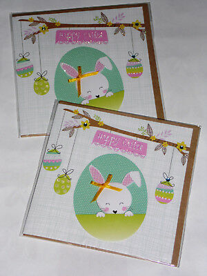 EASTER HANDMADE CARDS X 12, 'BUNNY HOP'  JUST 43p, (2)