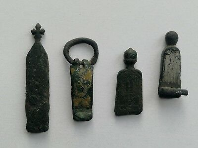 Medieval military strap ends - silver bronze UK found