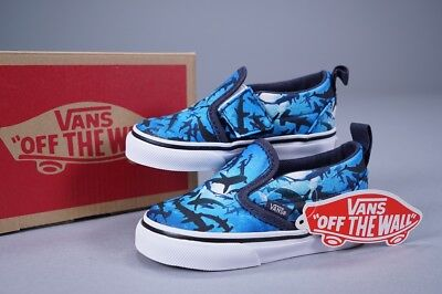 fd5fd6b846d1 VANS CLASSIC SLIP On V Digi Shark Blue ~ New W  Box ~ Toddler Shoes ...