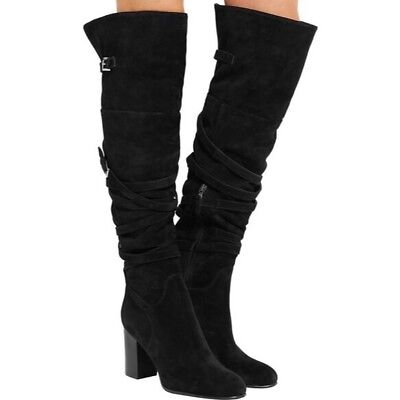 65a19dec078 SAM EDELMAN SABLE Black Belt Strap Suede Over the Knee Boot NEW ...