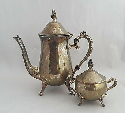 Vintage Silver Plated Coffee Pot and Sugar Bowl w/ Lid TEAPOT Elegant Floral
