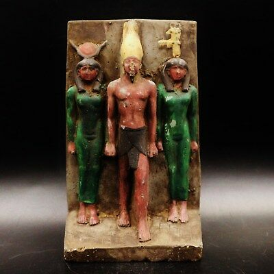 Rare Antique Statue Egyptian Triad Of King Menkaure....large