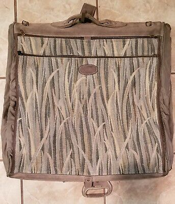 3c65d172e0e9 Vintage French Luggage Company Reeds Tapestry patter Garment Bag Grey suede  Trim