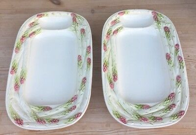 Pair Of Vintage Mid 20th Century Bassano Italy Asparagus Dishes