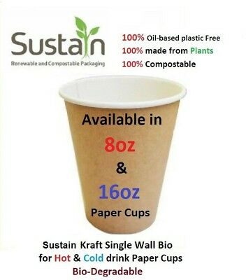 Disposable Paper COFFEE/TEA CUPS 8oz & 16oz Catering, Takeaway, Parties, etc....