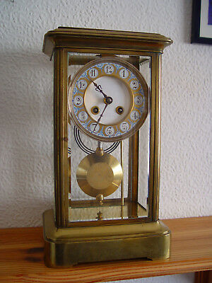 Antique French Four Glass Brass Striking Mantel Clock