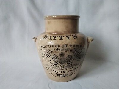Antique faience Batty's and Co. London mustard jar very rare piece 1800s'