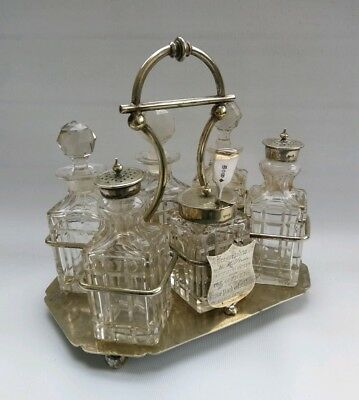 Vtg 1905 Silver Plate Cut Glass 6 Piece Cruet Condiment Set Grove Park Workhouse