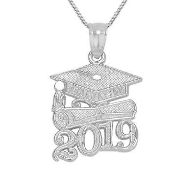 "Sterling Silver 2019 GRADUATION CAP DIPLOMA Pendant/Charm, Made in USA,18"" Chain"