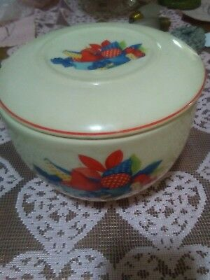 "VINTAGE 1940's ""CALICO FRUIT"" BOWL W/LID-UNIVERSAL POTTERIES,CAMBRIDGE OHIO"