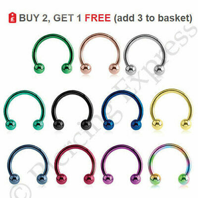 Horseshoe Bar Circular Barbells Septum Piercing Lip Nipple ANODIZED Steel BALLS
