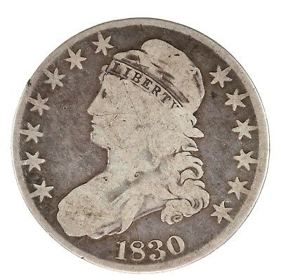 Raw 1830 Capped Bust 50C Uncertified Ungraded US Silver Half Dollar Coin
