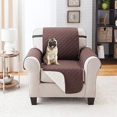 MICROFIBER RECLINER COVER Quilted Coffee Reversible Chair Furniture Protector
